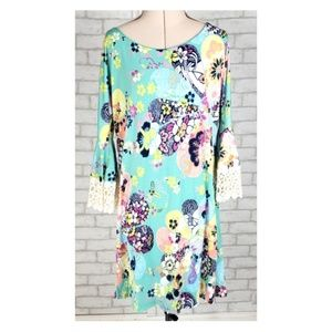Judith March Green Floral Crochet Bell Sleeves SM